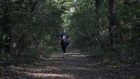 Junges dünnes Mädchentraining der Zeitlupe im Wald an einem Herbsttag, zum gesund zu bleiben und im in guter Verfassung - stock video