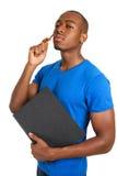 Junges Denken des männlichen Kursteilnehmers Stockfoto