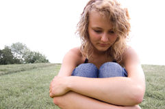 Junges deprimiertes Mädchen. Stockbilder
