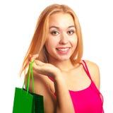 Junges erwachsenes Mädchen des Porträts mit grüner Tasche Stockbild