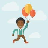 Junges Fliegen des schwarzen Mannes mit Ballonen stock abbildung