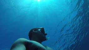 Junges freediver, das von einer Tiefe geht, auf einen Atem aufzutauchen umgeben durch Gruppe große Fische stock footage