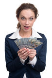 Junges Geschäftsfrau-Holdinggeld Stockfoto