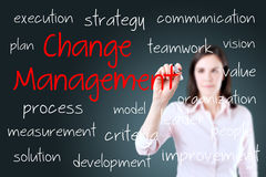 Junges Geschäftsfrau-Schreibensänderungs-Managementkonzept Stockfotografie
