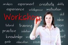 Junges Geschäftsfrau-Schreibenswerkstattkonzept Lizenzfreies Stockfoto