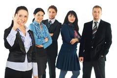 Junges Geschäftsfrauerscheinen-O.K.zeichen Stockbilder
