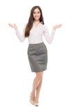 Junges Geschäftsfraugestikulieren lizenzfreies stockfoto