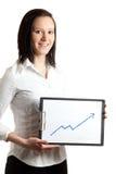 Junges Geschäftsfrauholdingdiagramm Lizenzfreies Stockfoto