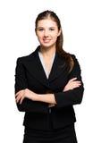 Junges Geschäftsfrauporträt Getrennt auf einem weißen Hintergrund stockfotos
