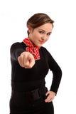 Junges Geschäftsmädchen, das Finger auf Projektor zeigt. Lizenzfreies Stockfoto