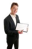 Junges Geschäftsmanndiagrammwachstum Lizenzfreie Stockfotos