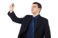 Junges Geschäftsmannschreiben lizenzfreies stockbild