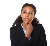 Junges Geschäftsfrau-Denken Stockfoto