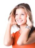 Junges glückliches Frauenportrait Lizenzfreie Stockfotos