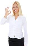 Junges glückliches Geschäftsfraugestikulieren vollkommen Lizenzfreie Stockbilder