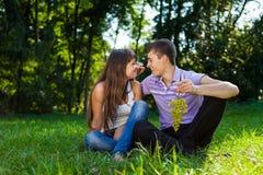 Junges glückliches Paar, das in einem sonnigen Park des Sommers flirtet Stockfoto