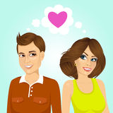 Junges glückliches Paar nebeneinander Lizenzfreie Stockbilder