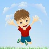 Junges glückliches Jungenspringen Stockfoto