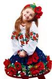 Junges hübsches Mädchen in einem ukrainischen nationalen Kostüm Stockbild