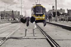 Junges Kerltanzen breakdance auf tramlines in der Stadt Lizenzfreie Stockfotos