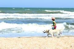 Junges kleines Mädchen und golden retriever-Hund, der auf dem Strand läuft lizenzfreie stockbilder