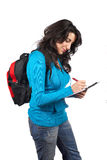 Junges Kursteilnehmerfrauenschreiben lizenzfreies stockbild