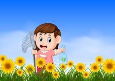 Junges Mädchen anziehendes butterflyin der Dschungel vektor abbildung