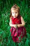 Junges Mädchen auf dem Gras Stockbild