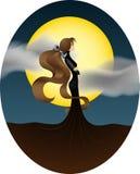 Junges Mädchen auf dem Hintergrund eines großen gelben Mondes lizenzfreie abbildung