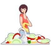 Junges Mädchen auf der Küche Stockbilder