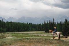 Junges Mädchen auf Pferd in den Bergen Stockbild