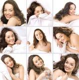 Junges Mädchen, das auf einem Kissen schläft Stockbilder