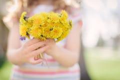 Junges Mädchen, das Blumenstrauß des handverlesenen Löwenzahns hält Stockfotografie