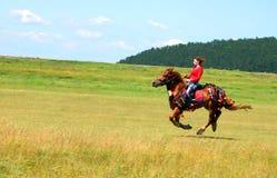 Junges Mädchen, das ein Pferd an einem landwirtschaftlichen Ereignis reitet Stockbilder