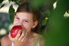 Junges Mädchen, das einen Apfel isst Lizenzfreie Stockfotografie