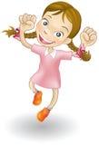 Junges Mädchen, das für Freude springt Lizenzfreies Stockfoto