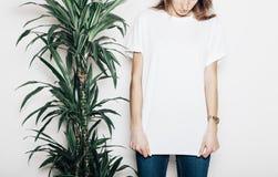 Junges Mädchen, das leeres T-Shirt trägt Betonmauerhintergrund und grüne Palme schließen das Mädchen horizontales Modell Stockfotografie