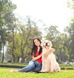 Junges Mädchen, das mit ihrem Hund in einem Park aufwirft Stockfoto