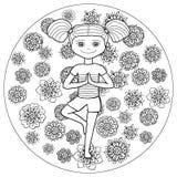 Junges Mädchen der erwachsenen Farbtonseite in der Baumyogahaltung Lizenzfreie Stockfotografie