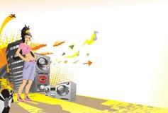 Junges Mädchen des abstrakten Musikhintergrundes Stockfotos
