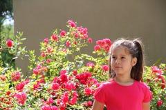 Junges Mädchen des reizenden Brunette mit dem Hintergrund von roten Rosen Lizenzfreie Stockfotos