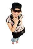 Junges Mädchen des Spaßes, das Finger zeigt Lizenzfreies Stockfoto