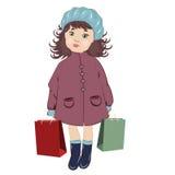 Junges Mädchen in einem Blauhelm Lizenzfreies Stockfoto
