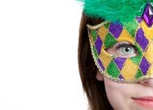 Junges Mädchen in einer Karnevalschablone mit Exemplarplatz Stockbilder