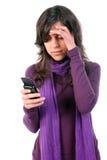 Junges Mädchen ermüdet und mit Kopfschmerzen Lizenzfreies Stockfoto
