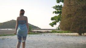 Junges Mädchen geht zwischen tropische Bäume stock video