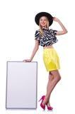 Junges Mädchen im bunten Kleid mit Plakat Stockfoto