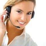 Junges Mädchen im Kundenkontaktcenter lizenzfreie stockbilder