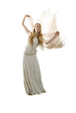 Junges Mädchen innen lang mit Kleid Stockfoto