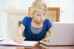 Junges Mädchen mit dem Laptop, der Heimarbeit tut Stockbilder